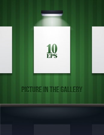 exhibition hall: Picture On The Wall With Light In Gallery Green