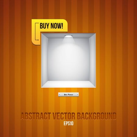 Empty Shelf For Exhibit In The Striped Wall Orange Yellow With Label Buy Now  Vector