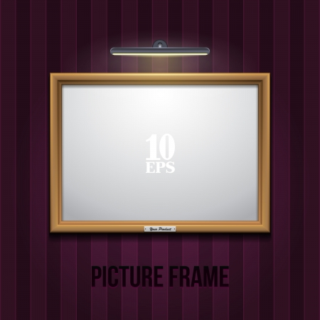 photo realistic: Golden Picture Frame On Striped Violet Purple Wall