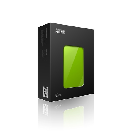 product packaging: Black Modern Software Package Box With Green Window For DVD Or CD Disk