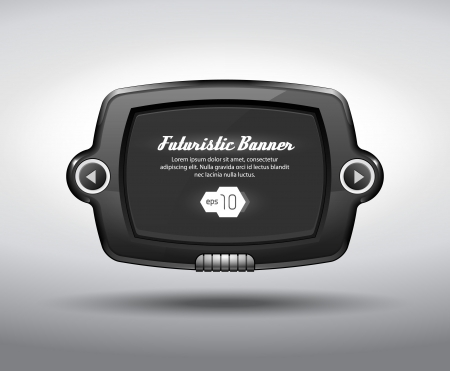 tv panel: Glossy Slider Pad Futuristic Device Abstract Vector Banner Web Design Elements Black EPS10