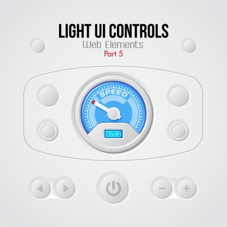 Light UI Controls Web Elements 5  Buttons, Switchers, On, Off, Player, Audio, Video, Volume, Speed Indicator, Speedometer Vector