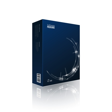 Modern Software Package Box Blue With DVD Or CD Disk