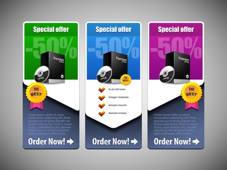 Special Offer Banner Set Colored 21  Blue, Purple, Violet, Green  Showing Products Purchase Button Vector