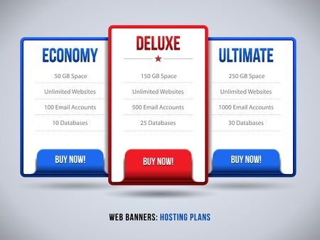 Web Banners Boxes Hosting Plans Or Pricing For Your Website Design  Banner, Order, Button, Box, List, Bullet, Buy Now Vector