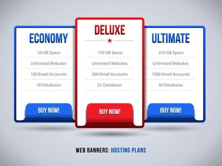 hospedagem: Web Banners Boxes Planos de Hospedagem ou pre�o para o seu site banner design, Ordem, Bot�o, Caixa, List, Bala, Compre Agora Ilustra��o