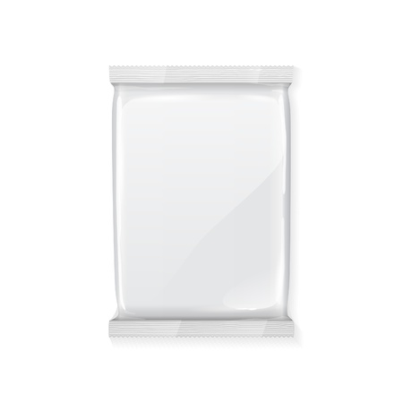 White Blank Foil Packaging Plastic Pack Ready For Your Design  Snack Product Packing Vector