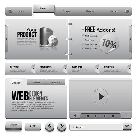 onglet: Rubans m�talliques �l�ments de conception web 4 boutons, formulaires, curseur, d�filement, ic�nes, onglet, menu, barre de navigation, coffre, lecteur vid�o, Template, Web