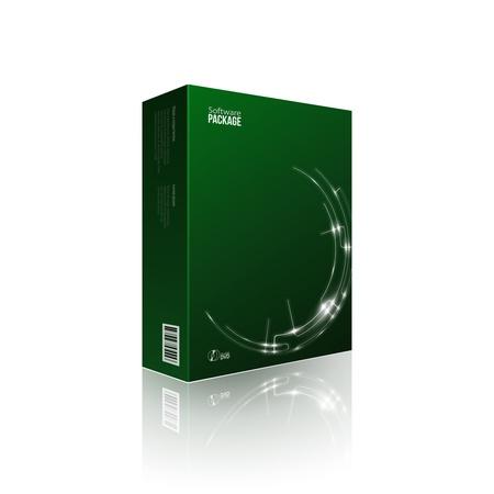 Paquete de software modernas caja verde con DVD o disco CD