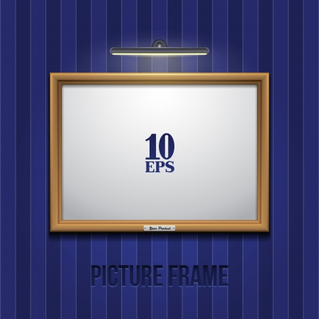 Picture Frame Golden On Wall With Blue Striped Wallpapers Stock Vector - 16209766