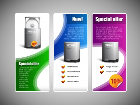 Special Offer Web Banner Set Website Colored 22  Blue, Purple, Violet, Green  Showing Products Purchase Button, Label, Sticker  Vector