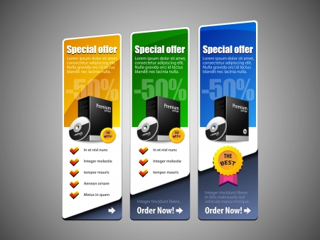 discount banner: Special Offer Banner Set Colored  Blue, Green, Yellow  Showing Products Purchase Button