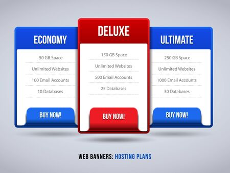 Web Banners Boxes Hosting Features Plans Or Pricing Table For Your Website Design Blue Red  Banner, Order, Button, Box, List, Bullet, Buy Now  Vector