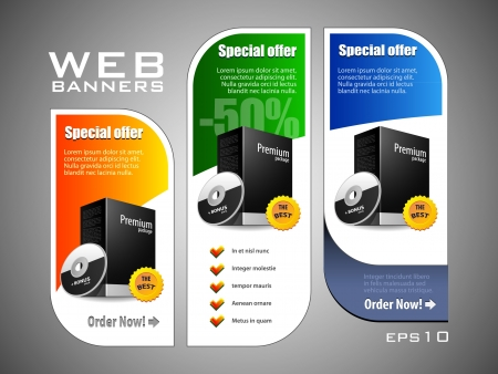 web sites: Special Offer Banner Set Colored  Blue, Green, Yellow  Showing Products Purchase Button