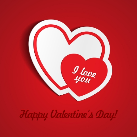 Double Red Heart Paper Sticker With Shadow Valentine s day illustration Postcard Stock Vector - 17310994