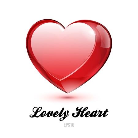 Red Glass Shiny Lovely Heart Valentine s Day  illustration Postcard Or Banner   Stock Vector - 17311064