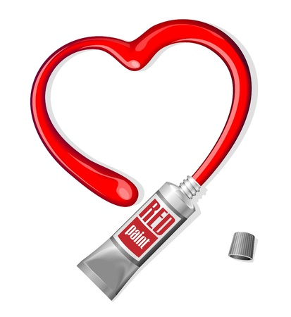 Red Heart From Paint Tube Valentine s Day Background Stock Vector - 17310984