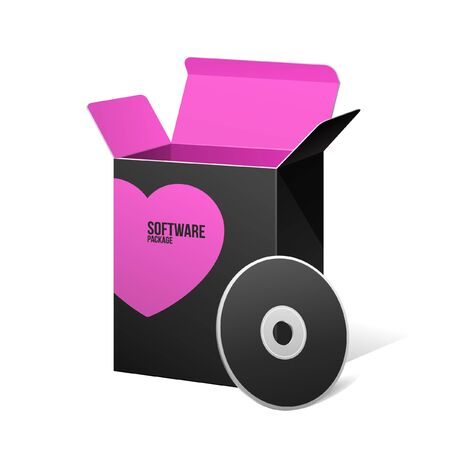 Valentine s Day Software Package Box Opened Black Inside Pink Violet Purple Stock Vector - 17310970