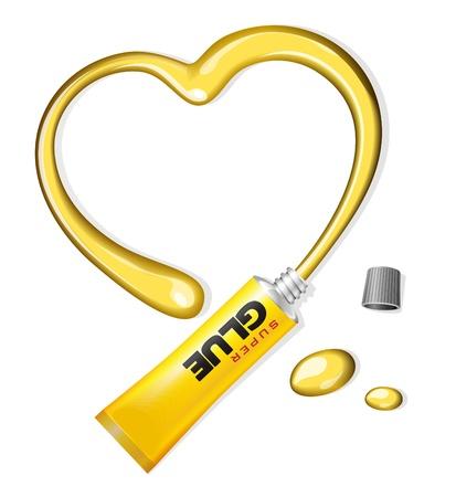 resistol: Corazón amarillo Pegamento De Antecedentes Día de San Valentín s Tube Vectores