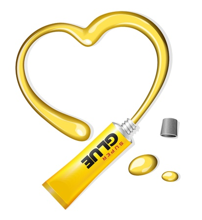 tacky: Yellow Glue Heart From Tube Valentine s Day Background  Illustration
