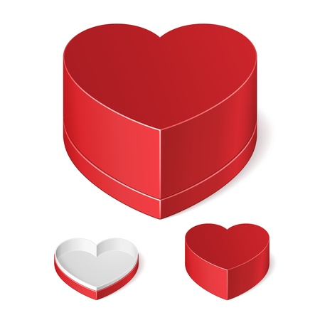Opened And Closed Valentine s Day Red Gift Candy Box Like Heart Isolated On White Background  Vector EPS10 Stock Vector - 17472431