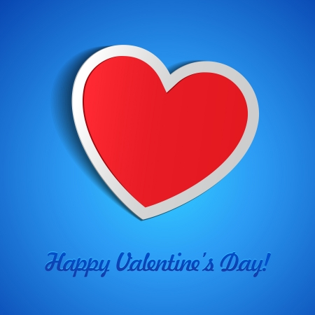 Red Heart Paper Sticker With Shadow On Blue Background Valentine s Day  Vector Illustration Postcard EPS10 Stock Vector - 17472433