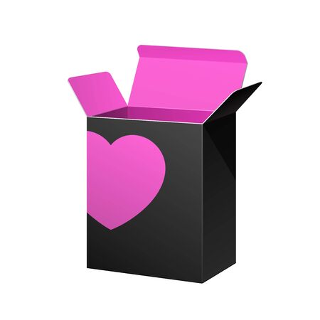 Valentine s Day Software Package Box Opened Black Inside Pink Violet Purple Stock Vector - 17472429