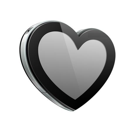 Black Heart Like Glossy Pad Or Mobile Phone Talk Cloud On White Background  Futuristic Device Abstract Technology Banner  Web Design Elements  Valentine s Day Illustration Postcard  Vector Stock Vector - 17472471