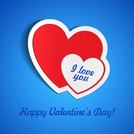 Double Red Heart Paper Sticker With Shadow On Blue Background Valentine s Day  Vector Illustration Postcard EPS10 Vector