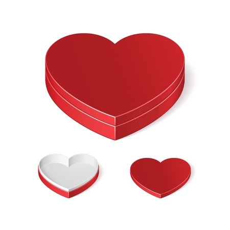 Valentine s Day Red Gift Candy Box With Lid Like Heart Isolated On White Background  Vector EPS10 Stock Vector - 17472432