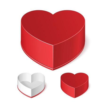 Opened And Closed Valentine s Day Red Gift Candy Box Like Heart Isolated On White Background  Vector EPS10 Stock Vector - 17472430