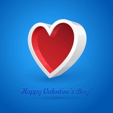 plastic heart: Bianco 3D in plastica Banner Box Cuore astratto su sfondo blu illustrazione vettoriale Valentine s Day Cartolina Vettoriali