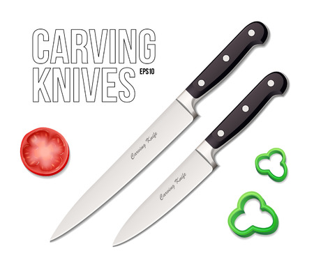 paring knife: Two Chef s Kitchen Carving Knives EPS10