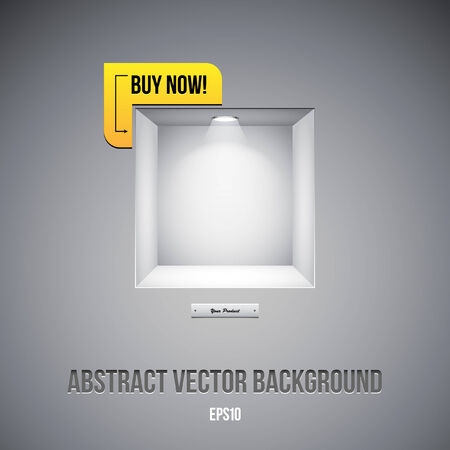 Empty Shelf For Exhibit In The Wall Grayscale Gray With Label Buy Now   Vector
