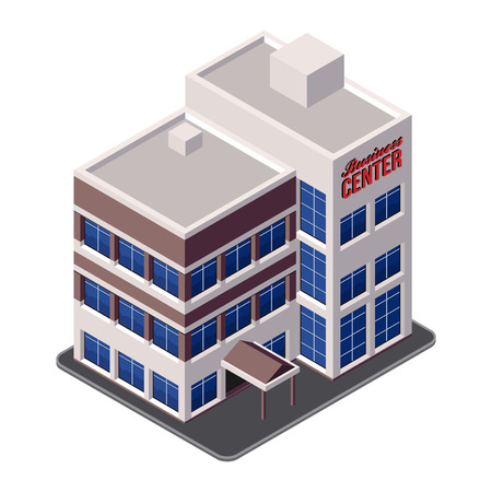 office building: Business Center Building, Office, For Real Estate Brochures Or Web Icon  Isometric Illustration