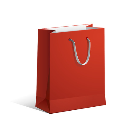 carriers: Carrier Paper Bag Red Empty  Illustration