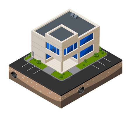 office building: Business Center Building, Office, For Real Estate Brochures Or Web Icon  Isometric