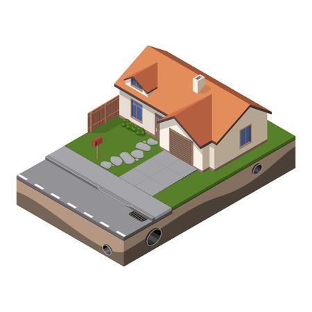 부동산 브로셔 또는 마당, 푸른 잔디, 도로, 사서함, 울타리, 지상 아이소 메트릭과 웹 아이콘에 대 한 미국의 코티지, 작은 목조 주택