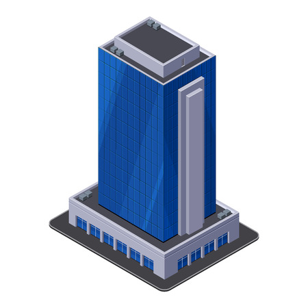 Business Center Building, Office, For Real Estate Brochures Or Web Icon  Isometric Vector  Vector