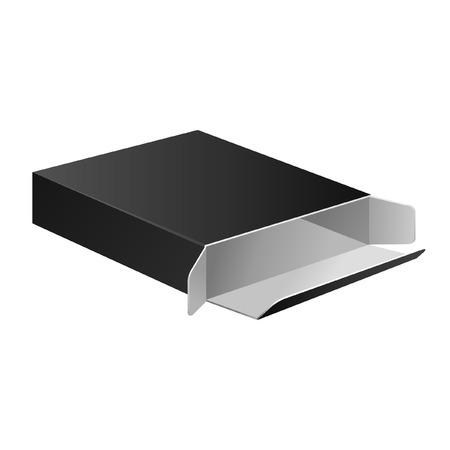 condom: Open Slim Black Carton Box For Medical Product  Vector EPS10