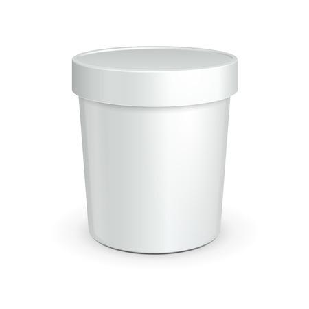 Bianco Vasca cibo contenitore di plastica per dessert, yogurt, gelato, sream acida o uno spuntino pronto per la progettazione dell'imballaggio del prodotto vettoriale EPS10 Vettoriali