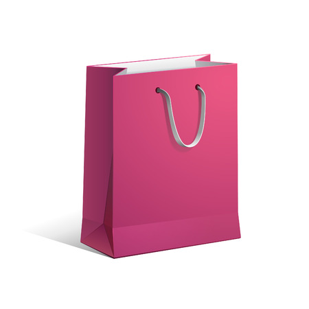 a bag: Carrier Paper Bag Pink Red Empty