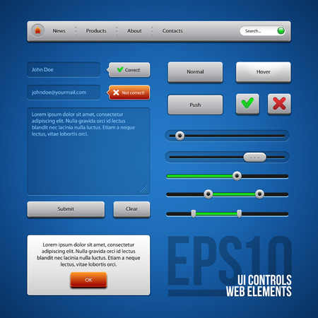Colored UI Controls Web Elements, Blue, Gray, Red, Green  Buttons, Comments, Sliders, Message Box  Vector
