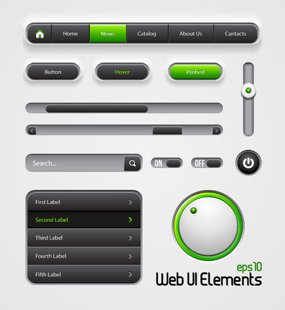 search bar: Web UI Elements Design Gray Green  Navigation Bar, Menu, Slider, Scroller, Equalizer, Volume, Button, Power, On, Off, Search, Website Elements  Illustration
