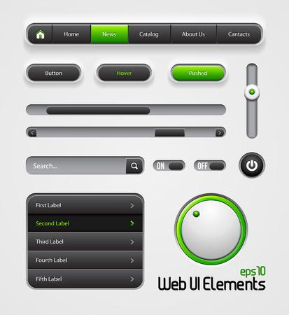 scroller: Web UI Elements Design Gray Green  Navigation Bar, Menu, Slider, Scroller, Equalizer, Volume, Button, Power, On, Off, Search, Website Elements  Illustration