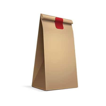 coffee sack: Slim Paper Bag Package Of Coffee, Salt, Sugar, Pepper, Spices Or Flour, Filled, Folded, Close, Brown