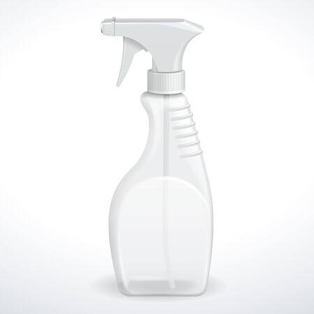 window cleaner: Spray Pistol Cleaner Plastic Bottle White Transparent  Vector  Illustration