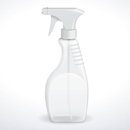 Spray Pistol Cleaner Plastic Bottle White Transparent  Vector  Illustration
