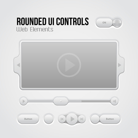 player controls: Rounded Light UI Controls Web Elements 2  Buttons, Switchers, On, Off, Player, Audio, Video  Play, Stop, Next, Pause, Volume, Slider, Progress Bar, Bulb  Illustration