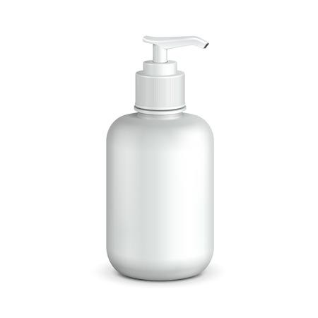 dispensador: Gel, espuma o jab�n l�quido de la bomba botella de pl�stico blanco listo para su dise�o de productos de embalaje Vector EPS10